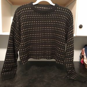Sweaters - CHIC VINTAGE RECLAIMED CROPPED BLACK SWEATER